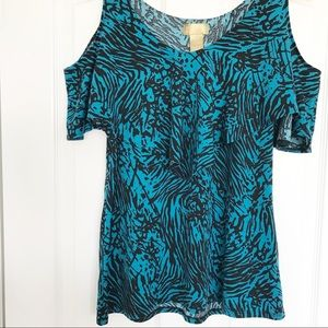 Miss Tina Cold Shoulder Top Blue and Black Size M